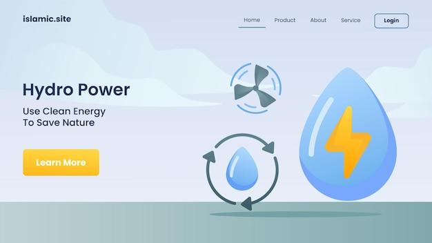 Waterkracht gebruikt schone energie om de natuur te redden voor website sjabloon landing homepage platte geïsoleerde achtergrond vector ontwerp illustratie