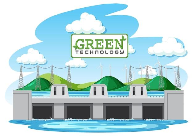 Waterkrachtcentrales wekken elektriciteit op met groene banner