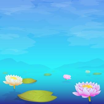 Waterleliestootkussens die in meer drijven