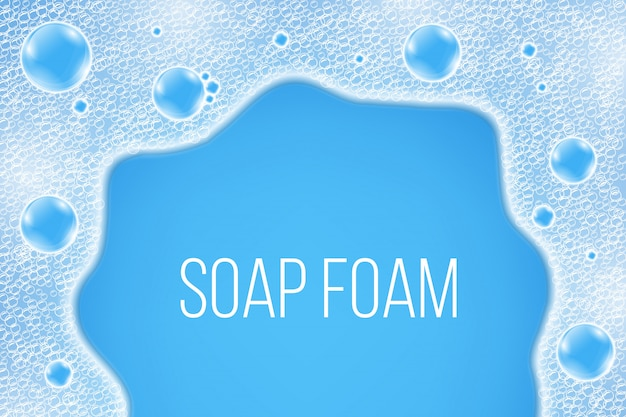 Waterluchtzeepbels, shampooschuim.