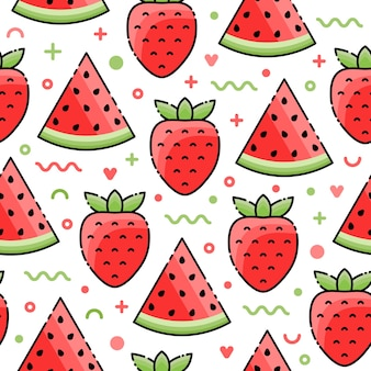 Watermeloen, aardbei geometrisch naadloos patroon.