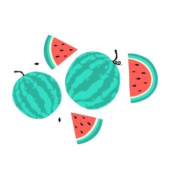 Watermeloen cartoon icon, kleurrijke set
