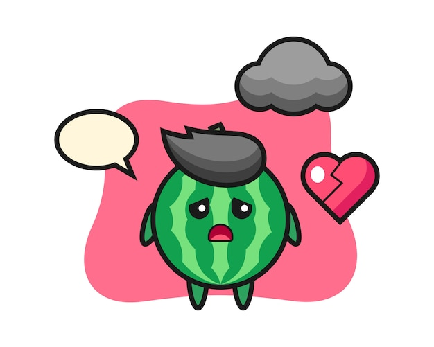 Watermeloen cartoon illustratie is gebroken hart