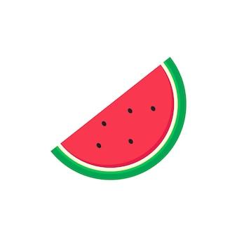 Watermeloen cartoon met vlakke stijl geïsoleerd op een witte achtergrond