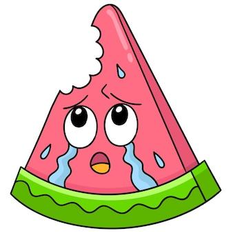 Watermeloen die was gebeten met een droevig gezicht huilend, karakter schattig doodle tekenen. vector illustratie