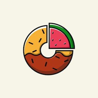 Watermeloen donut logo ontwerp