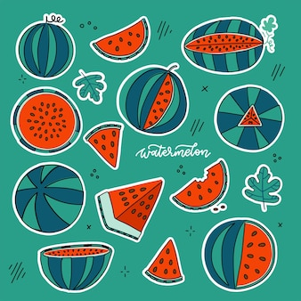 Watermeloen doodle handgetekende stickers in felle kleurstijl geïsoleerde zonnige fruitcollectie die...
