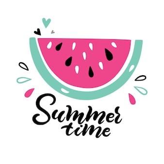 Watermeloen en hand belettering citaat zomertijd.