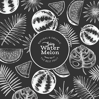 Watermeloen en tropische bladeren ontwerpsjabloon. hand getekend exotisch fruit vectorillustratie op schoolbord. fruitframe in gegraveerde stijl