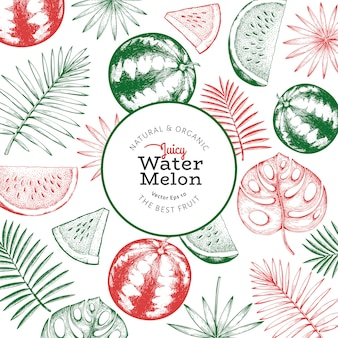 Watermeloen en tropische bladerenaffiche