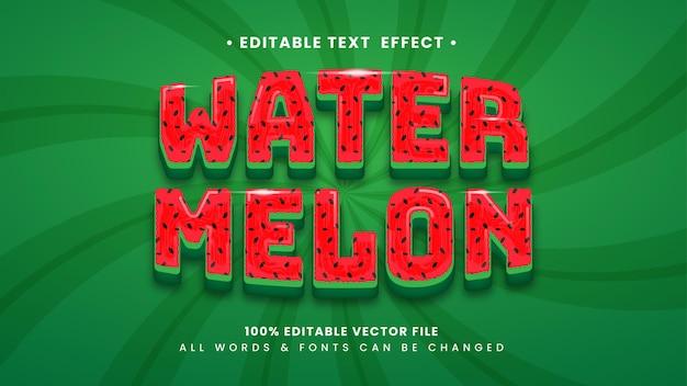 Watermeloen fruit 3d-tekststijleffect. bewerkbare illustrator tekststijl.