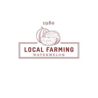 Watermeloen fruit boerderij winkel logo