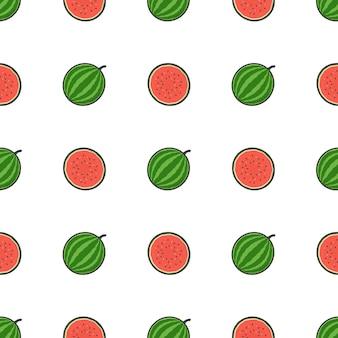 Watermeloen fruit naadloze patroon. illustratie van verse watermeloen