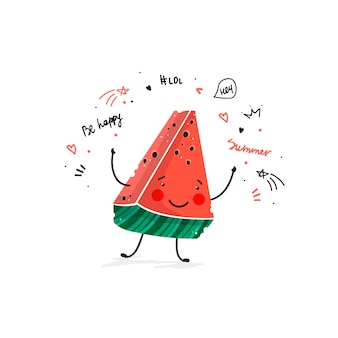 Watermeloen fruit schattig cartoon doodle schets illustratie