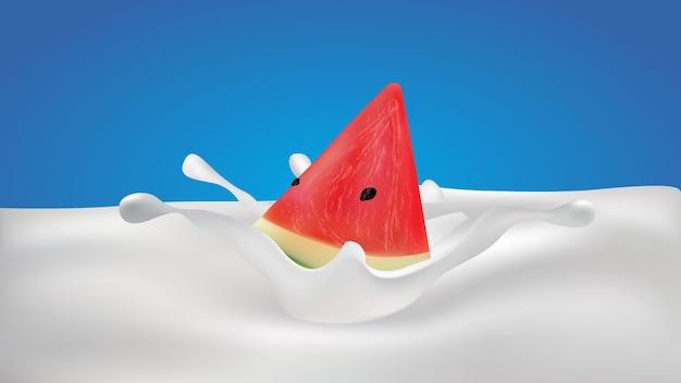 Watermeloen geïsoleerd in melk splash op blauwe achtergrond
