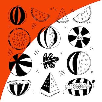 Watermeloen halve plak strepen instellen zwarte lijn vruchten illustratie collectie geïsoleerde grafische vector ...