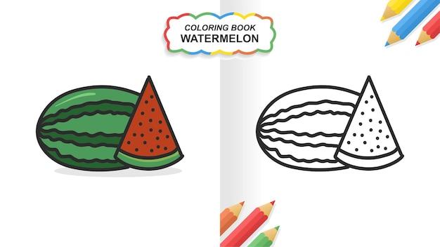 Watermeloen hand getekend kleurboek om te leren. egale kleur klaar om af te drukken