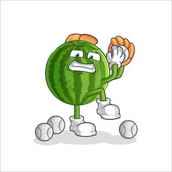 Watermeloen honkbal werper cartoon mascotte