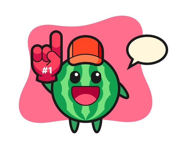 Watermeloen illustratie cartoon met nummer 1 fans handschoen