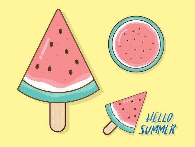 Watermeloen in zomer vector plat ontwerp