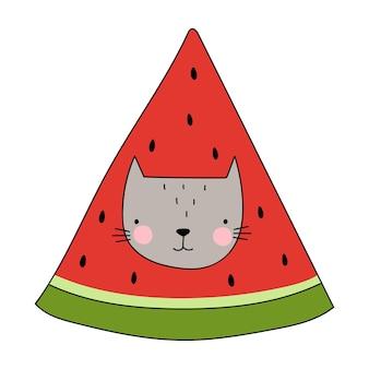 Watermeloen kat grappige kat vectorillustratie goed voor posters t-shirts ansichtkaarten