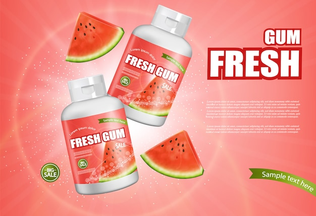 Watermeloen kauwgombanner
