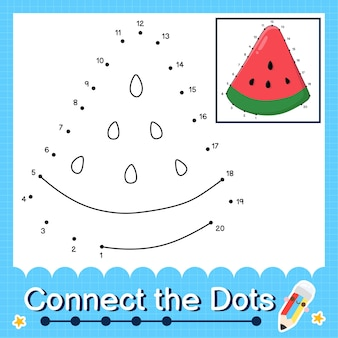 Watermeloen kinderpuzzel verbind de stippen werkblad voor kinderen die de nummers 1 tot 20 tellen