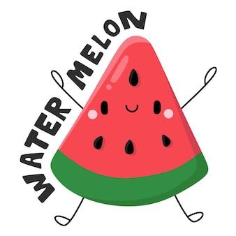 Watermeloen leuk fruit en groenten stripfiguur