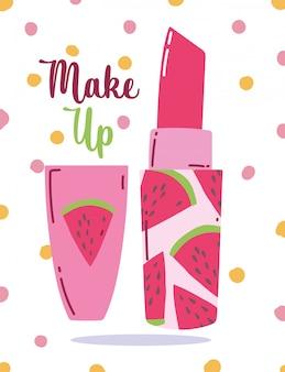 Watermeloen lippenstift cosmetische make-up gestippelde vectorillustratie
