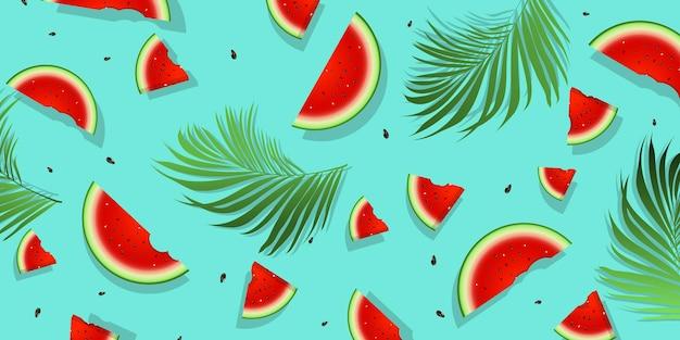 Watermeloen met groene plant achtergrond