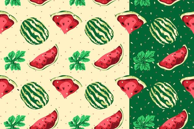 Watermeloen naadloos patroon met licht en donker vectorontwerp als achtergrond