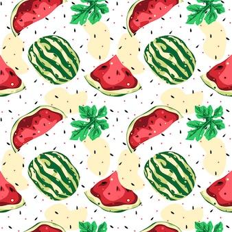 Watermeloen naadloos patroon vector ontwerp