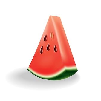 Watermeloen natuurlijk zoet voedsel. icoon van rijp rood fruit gesneden op plak in 3d-realistische cartoon-stijl. verse en sappige kleurrijke bes geïsoleerd op een witte achtergrond.