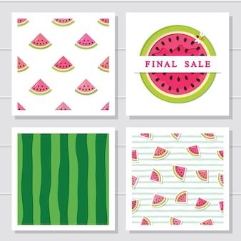 Watermeloen ontwerpset elementen