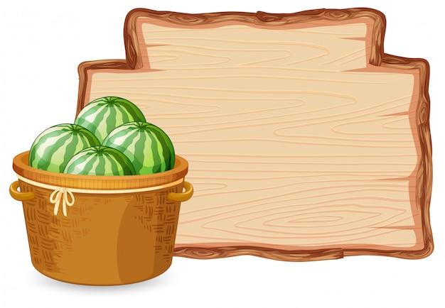 Watermeloen op een houten bord
