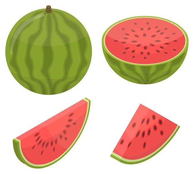 Watermeloen pictogrammen instellen, isometrische stijl