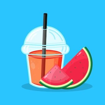 Watermeloen sap plastic beker