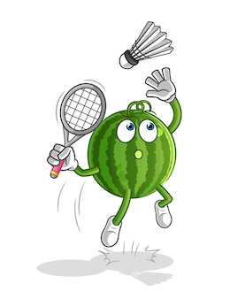 Watermeloen smash bij badminton cartoon mascotte