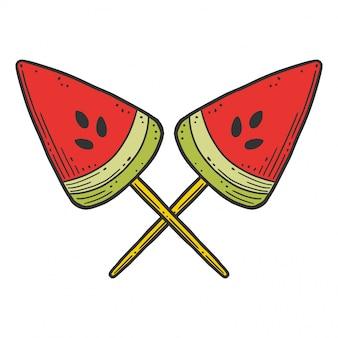 Watermeloen snoep of ijscoupe. vector concept in doodle en schets stijl.