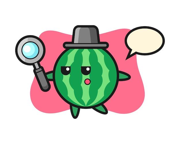 Watermeloen stripfiguur zoeken met een vergrootglas