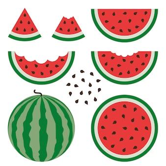 Watermeloen tekenen vector ingesteld op witte achtergrond