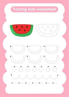 Watermeloen - traceer lijnen schrijven en tekenen oefenblad voor kinderen