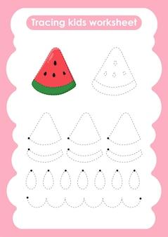 Watermeloen traceerlijnen oefenwerkblad voor schrijven en tekenen voor kinderen