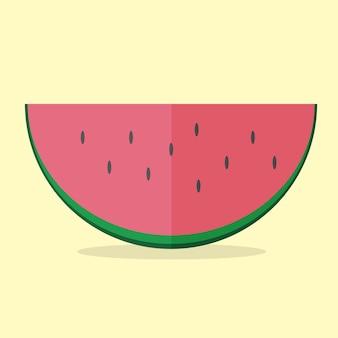 Watermeloen vector moderne icon - vlakke stijl grafische afbeelding op gele background