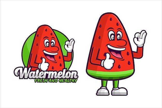 Watermeloen vers en gezond vectorontwerpmascotte