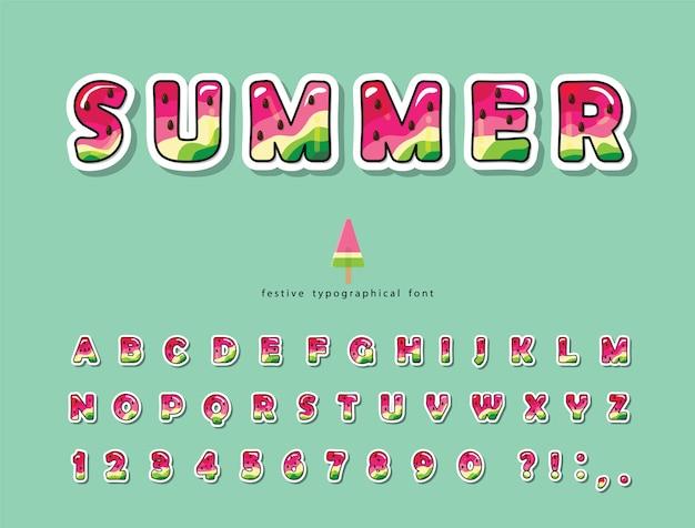 Watermeloen zomer trendy lettertype. cartoon alfabet.