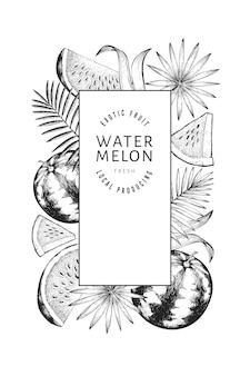 Watermeloenen, meloenen en tropische bladeren ontwerpsjabloon. hand getekend vectorillustratie exotisch fruit. gegraveerde stijl fruitframe. retro botanische banner.