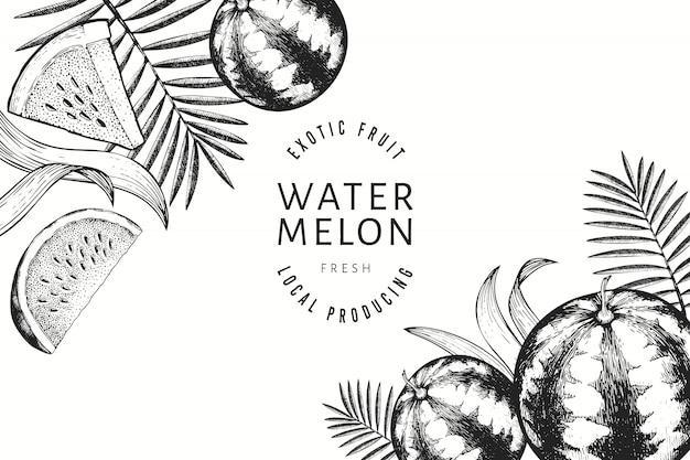 Watermeloenen, meloenen en tropische bladeren ontwerpsjabloon.