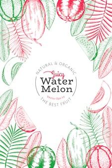 Watermeloenen, meloenen en tropische bladeren sjabloon. hand getekend exotisch fruit illustratie.