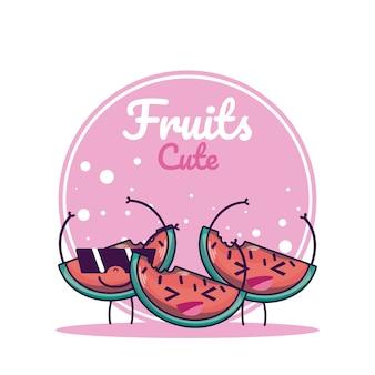 Watermeloenen schattig fruit cartoons